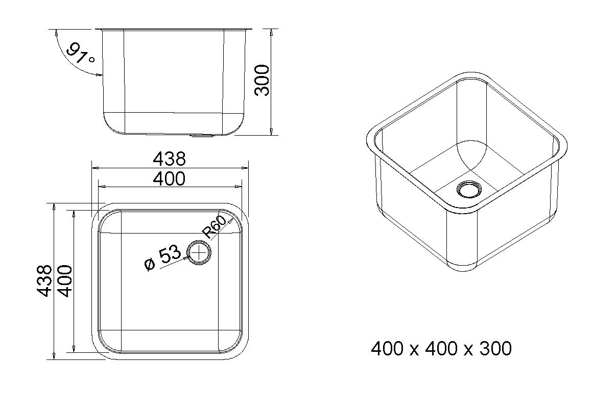 allpaxde  XL Edelstahl Spülbecken 400×400, 48 Liter ~ Spülbecken In Arbeitsplatte Einlassen