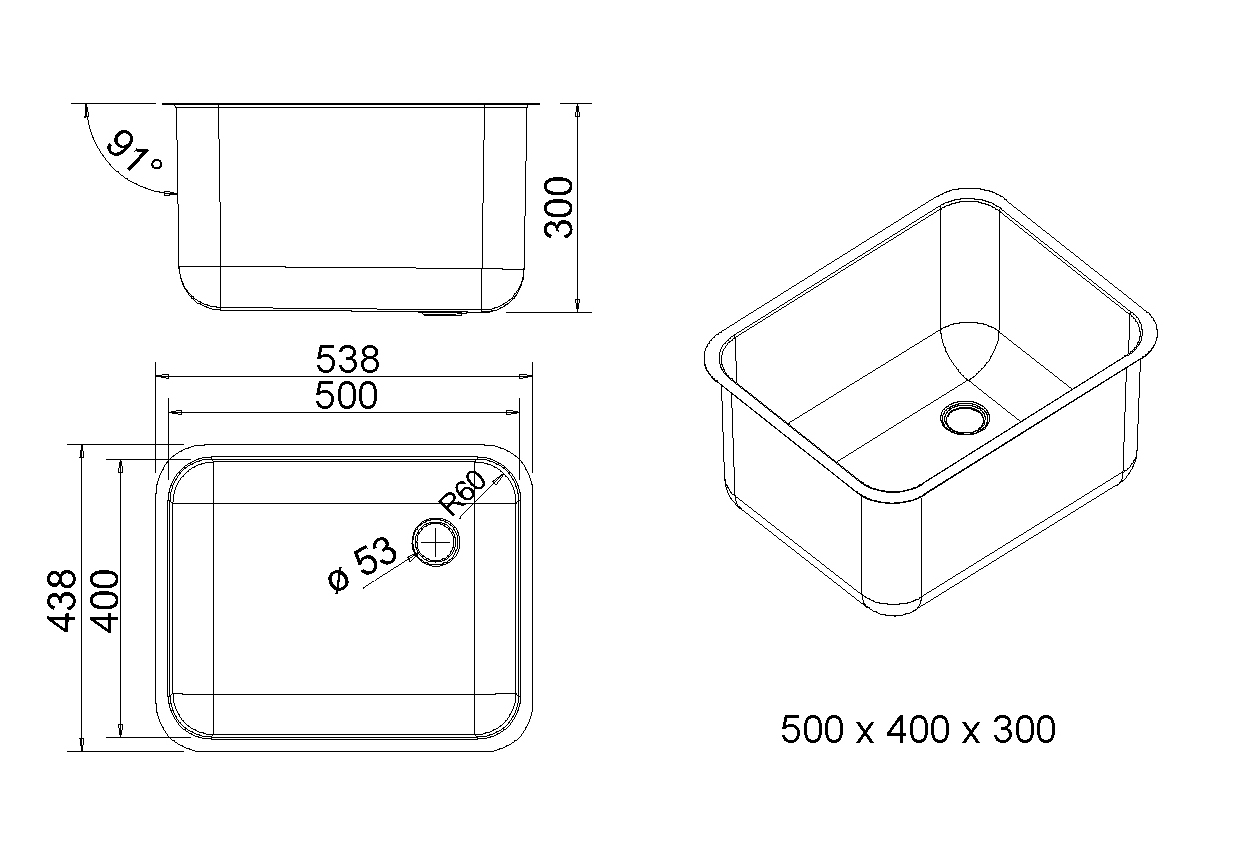 allpaxde  XL Edelstahl Spülbecken 500×400, 60 Liter ~ Spülbecken In Arbeitsplatte Einlassen